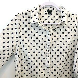J Crew Polka Dot Button Down Popover Collar Shirt